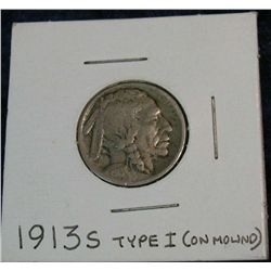 1259. 1913S Type-1 Buffalo Nickel. G.