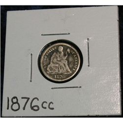 1261. 1876CC Liberty Seated Dime. VG Dark.