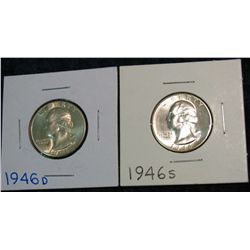 1264. 1946D & 46S  Washington Quarters. BU.