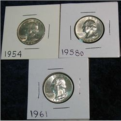 1265. 1954, 58D & 61 Washington Quarters. BU.