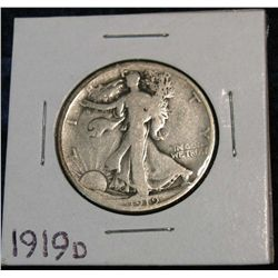1267. 1919D Walking Liberty Half. G.