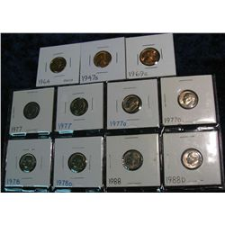 1272. 1947S, 64, 49S Cents & (8) 1977-88 Roosevelt Dimes. BU & Proof.