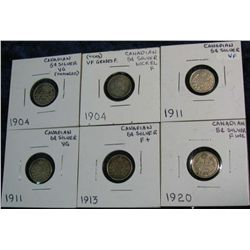 1273. (2) 1904 (2) 11, 13 & 20 Canadian 5-Cent Silvers. VG-VF.