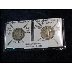 1332. 1914 Barber Quarter VF & 1929 Standing Liberty Quarter F.