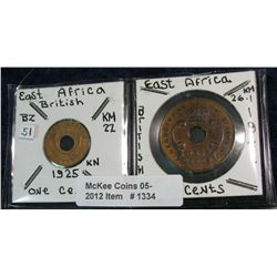 1334. British East Africa 1925 Cent EF & 1941 10-Cents BU.
