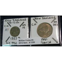 1338. New Zealand 1952 6-Pence EF & 1961 Florine Unc.