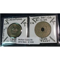 1339. Singapore 1968 50-Cents Proof & West Africa 1936 Penny EF.