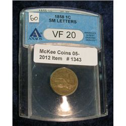 1343. 1858 SL Flying Eagle Cent Anacs Slabed VF20.