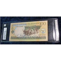 1348. Rwanda Series 2003 100-Cent Francs Water Buffalo Note