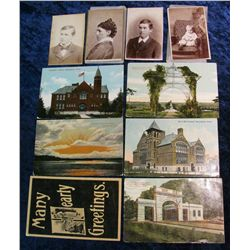 1372. (6) Early Burlington, Iowa Postcards & (4) Old Portrait Photos.