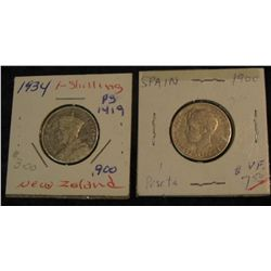 1491. 1900 Spain Peseta VF. & New Zealand 1934 Shilling  F.