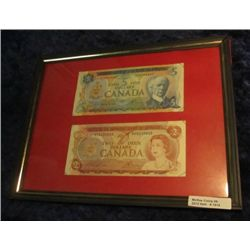 1515. Series 1974 Canada $2 & 1972 $5. Notes in Frame.