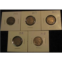 1526. (3) 1917 P & (2) 18P Buffalo Nickels. G-4.