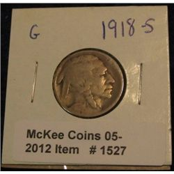 1527. 1918 S Buffalo Nickel. G-4.