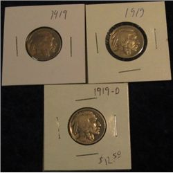 1529. (2) 1919P & D Buffalo Nickels.  AG-G. (3 pcs.).