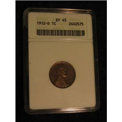 1631. 1912 D Lincoln Cent. ANACS slabbed EF 45.