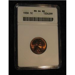 1632. 1930 P Lincoln Cent. ANACS slabbed MS 64 RB.