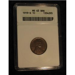 1633. 1919 S Lincoln Cent. ANACS slabbed MS 63 BRN