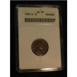 1634. 1931 S Lincoln Cent. ANACS slabbed AU 55.