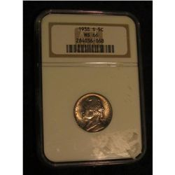 1637. 1938 S Jefferson Nickel. Slabbed NGC MS 66.