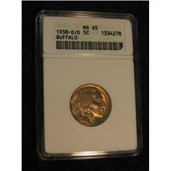 1638. 1938 D/D Buffalo Nickel. ANACS slabbed MS 65.