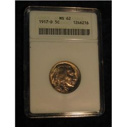 1639. 1917 D Buffalo Nickel. ANACS slabbed MS 62.