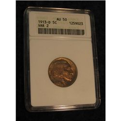 1640. 1913 D Variety Two Buffalo Nickel. ANACS slabbed AU 50.