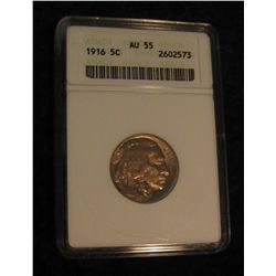 1641. 1916 P Buffalo Nickel. ANACS slabbed AU 55.