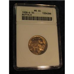 1646. 1938 D Buffalo Nickel. ANACS MS 64.