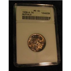 1647. 1938 D Buffalo Nickel. ANACS MS 64.