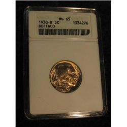 1648. 1938 D Buffalo Nickel. ANACS MS 65.