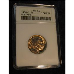 1649. 1938 D Buffalo Nickel. ANACS MS 66.