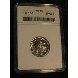1651. 1937 P Buffalo Nickel. ANACS MS 65.