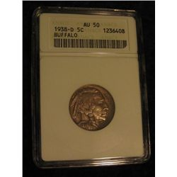 1654. 1938 D Buffalo Nickel. ANACS AU 50.