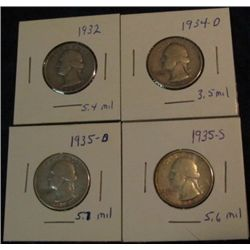 1670. 1932 P, 34 D, 35 D, & 35 S Washington Quarters. VG-F.