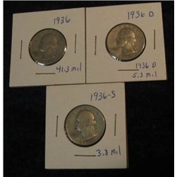 1671. 1936 P, D, & S Washington Quarters. VG-F.