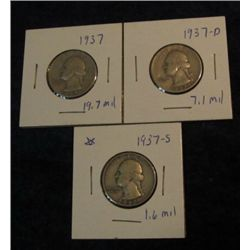 1672. 1937 P, D, & S Washington Quarters. VG-F.