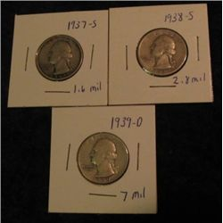 1673. 1937S, 38S, & 38S Washington Quarters. VG-F.