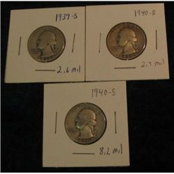 1674. 1939S, 40D, & 40S Washington Quarters. VG-8.