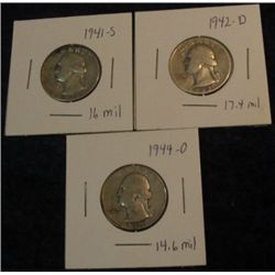 1675. 1941S, 42D, & 44D Washington Quarters. VG-F.