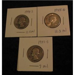 1676. 1944S, 45D, & 51D Washington Quarters. VG-AU.