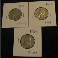 1677. 1946P, D, & S Washington Quarters. VG-AU.