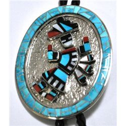 Navajo Multi-Stone Rainbow Kachina Sterling Silver Bolo Tie - Victor Trujillo