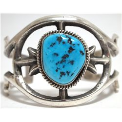Old Pawn Navajo Sleeping Beauty Turquoise Sterling Silver Cuff Bracelet - Mike Platero
