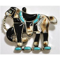 Old Pawn Multi-Stone Horse Sterling Silver Pendant & Pin - MW?