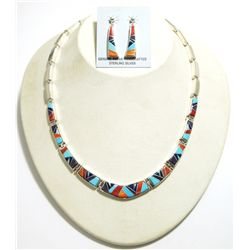Navajo Multi-Stone Inlay Sterling Silver Link Necklace & Earrings Set - Calvin Begay