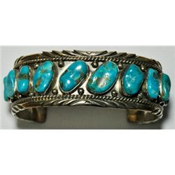 Old Pawn Turquoise Sterling Silver Cuff Bracelet - R.T.B.