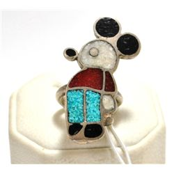 Old Pawn Multi-Stone Inlay Mickey Mouse Sterling Silver Women's Ring