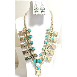 Old Pawn Tuquoise Kachina Sterling Silver Necklace & Earrings Set - FY