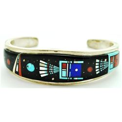 Navajo Multi-Stone Inlay Night Sky Sterling Silver Cuff Bracelet - Erwin Tsosie